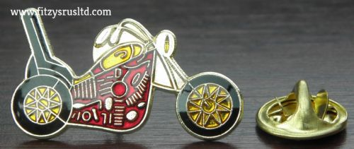 Motorbike Burgundy & Gold-tone Chopper Biker Lapel Hat Cap Tie Pin Badge Brooch